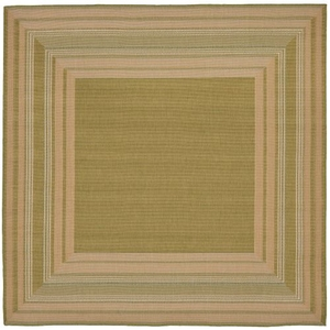 "Liora Manne Terrace Etched Border Indoor/Outdoor Rug Green 7'10"" SQ"
