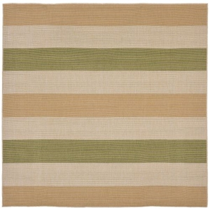 "Liora Manne Terrace Multi Stripe Indoor/Outdoor Rug Green 7'10"" SQ"