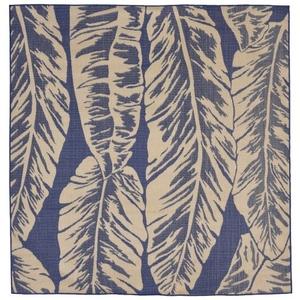 """Liora Manne Terrace Banana Leaf Indoor/Outdoor Rug Blue 7'10"""" SQ"""