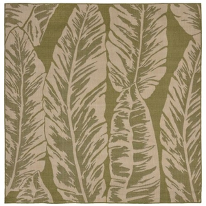 "Liora Manne Terrace Banana Leaf Indoor/Outdoor Rug Green 7'10"" SQ"