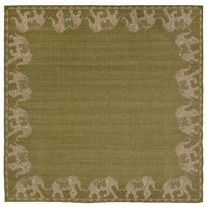 """Liora Manne Terrace Marching Elephants Indoor/Outdoor Rug Green 7'10"""" SQ"""