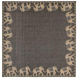 """Liora Manne Terrace Marching Elephants Indoor/Outdoor Rug Grey 7'10"""" SQ"""