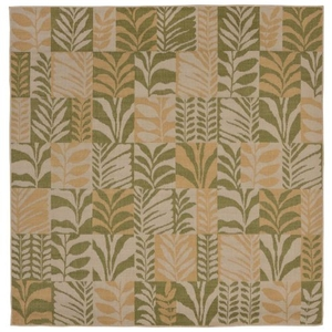 "Liora Manne Terrace Box Leaves Indoor/Outdoor Rug Green 7'10"" SQ"