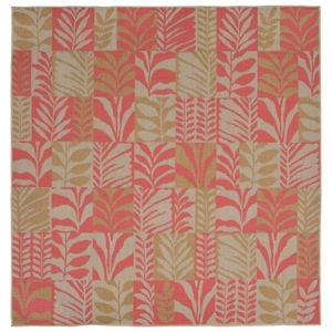 "Liora Manne Terrace Box Leaves Indoor/Outdoor Rug Rust 7'10"" SQ"