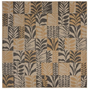 "Liora Manne Terrace Box Leaves Indoor/Outdoor Rug Grey 7'10"" SQ"