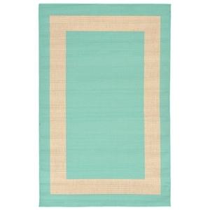"Liora Manne Tulum Border Indoor/Outdoor Rug Blue 4'10""X7'6"""