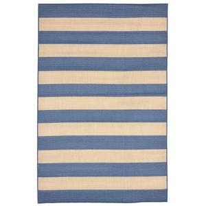 "Liora Manne Tulum Rugby Indoor/Outdoor Rug Blue 4'10""X7'6"""