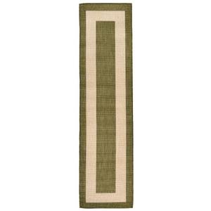 """Liora Manne Tulum Border Indoor/Outdoor Rug Green 23""""X7'6"""""""