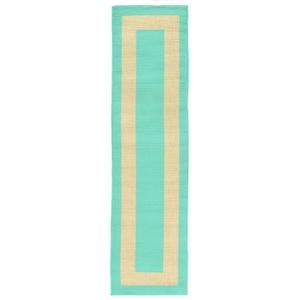 "Liora Manne Tulum Border Indoor/Outdoor Rug Blue 23""X7'6"""