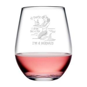 Drink Like A Fish Tritan Stemless Wine Tumblers, S/4