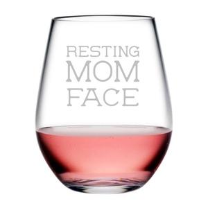 Resting Mom Face Tritan Stemless Wine Tumblers, S/4