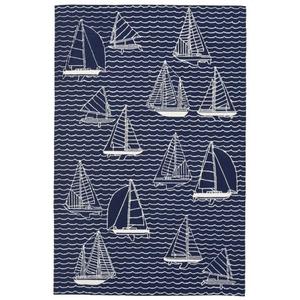 """Liora Manne Capri Sails Indoor/Outdoor Rug Navy 7'6""""X9'6"""""""