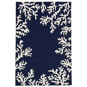 "Liora Manne Capri Coral Border Indoor/Outdoor Rug Blue 8'3""X11'6"""