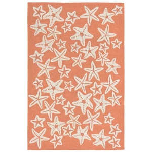 Liora Manne Capri Starfish Indoor/Outdoor Rug Orange 24 in. x 60 in.
