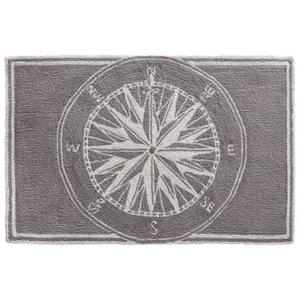 Liora Manne Frontporch Compass Indoor/Outdoor Rug Grey 5 ft. Round