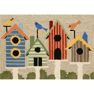 Liora Manne Frontporch Birdhouses Indoor/Outdoor Rug Natural 24 in. x 60 in.