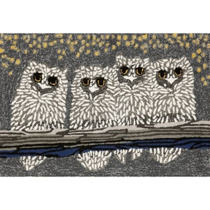 Liora Manne Frontporch Owls Indoor/Outdoor Rug Grey 24 in. x 60 in.