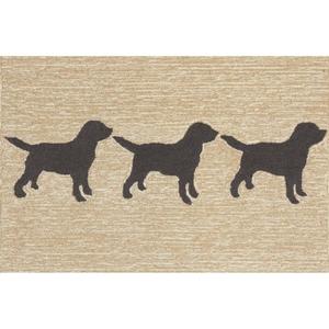 Liora Manne Frontporch Doggies Indoor/Outdoor Rug Natural 24 in. x 60 in.