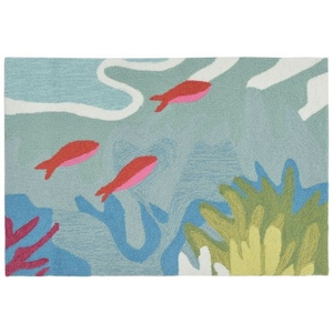 Liora Manne Ravella Ocean View Indoor/Outdoor Rug Blue 30 in. x 48 in.