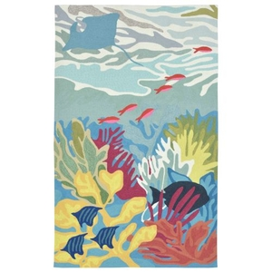 Liora Manne Ravella Ocean View Indoor/Outdoor Rug Blue 24 in. x 60 in.