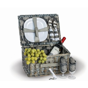 Wicker Boothbay Two Person Picnic Basket, Grey