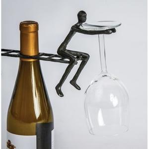 Cast Iron Ladderman Cast Iron Wine Glass Holder 2 Man, Black
