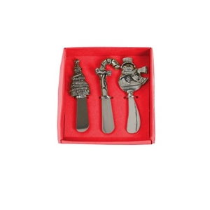 Stainless Steel Christmas Spreader Set of 4, Silver