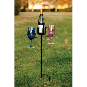 Wrought Iron Wine Glass and Bottle Stake, Black