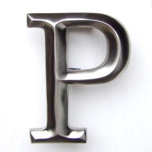Letter P Door Knocker, Brushed Nickel