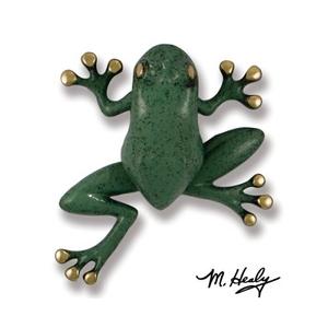 Tree Frog Door Knocker, Brass/Blue/Green Patina (Premium)