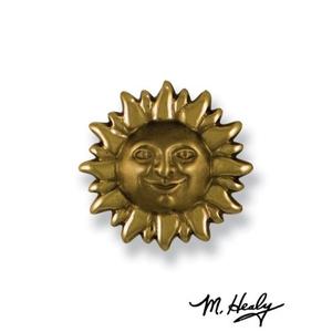 Smiling Sunface Doorbell Ringer, Brass