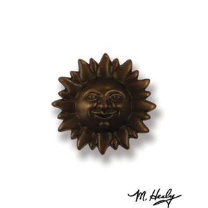 Smiling Sunface Doorbell Ringer, Oiled Bronze