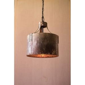 Rustic Metal Cylinder Pendant Light