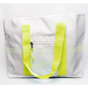 Sailcloth Cabana Medium Tote, White with Yellow Trim