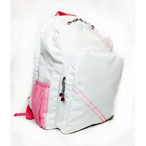 Sailcloth Cabana Backpack, White with Pink
