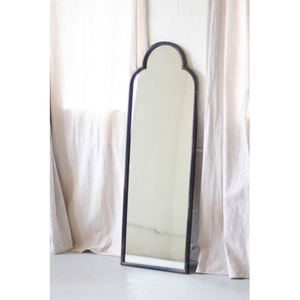 Antique Black Iron Mirror With Arched Top