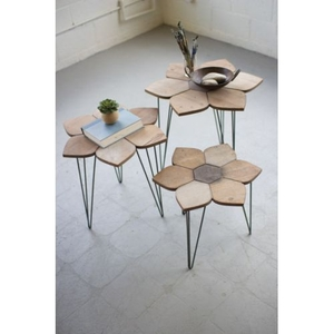 Flower Side Tables With Wooden Tops Set of 3