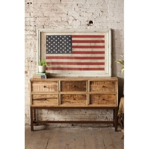 Large Framed American Flag Under Glass