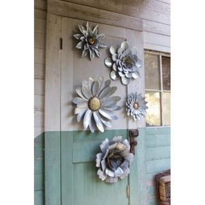 Galvanized Metal Flower Wall Hangings Set of 5
