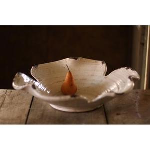 Giant White Ceramic Leaf Bowl