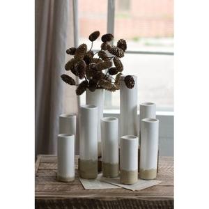 White Ceramic Cylinder Bud Vases Set of 9