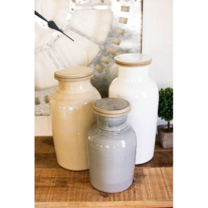 Ceramic Canisters - One Each Color Set of 3