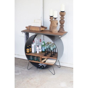 Round Metal Cubby Console With Slatted Wood Top