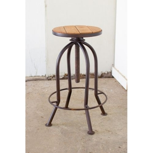 Adjustable Bar Stool With Recycled Wood - Rustic Finish
