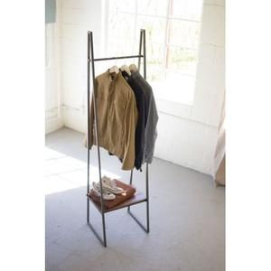 A - Frame Metal Rack With Lower Wood Shelf