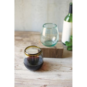 Stemless Wine Glass With Amber Rim Set of 6