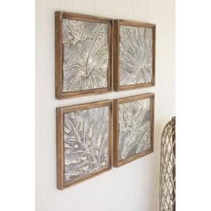 Framed Tropical Pressed Metal Tiles Set of 4