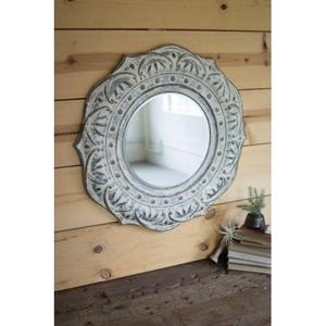 Pressed Metal Flower Wall Mirror