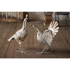 Antique White Metal Turkeys Set of 2