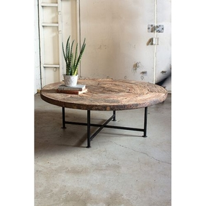 Wooden Wagon Wheel Coffee Table With Iron Base